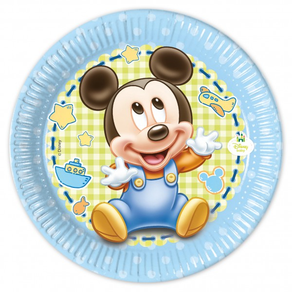 8 Mickey Mouse Babyparty Pappteller 20cm