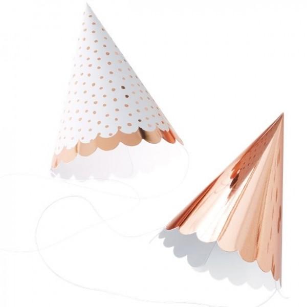 6 Rosy Party Hütchen 13cm