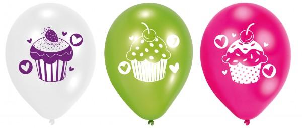 6 Cupcake Party Luftballons 23 cm