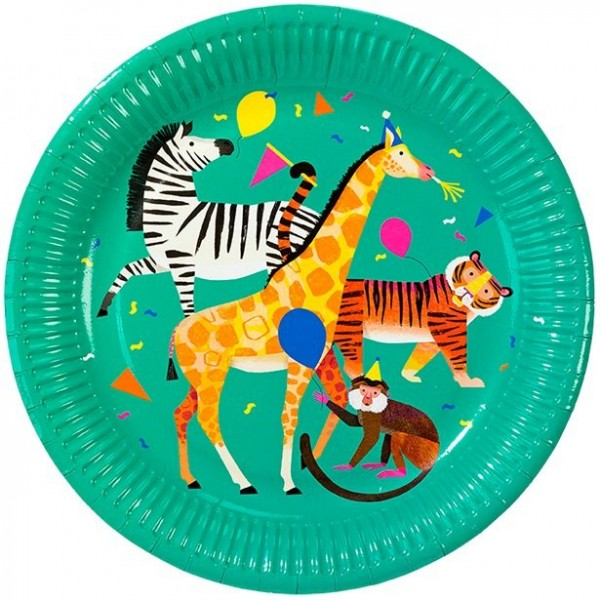 8 Party Animal Pappteller 23cm