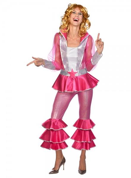 70er Jahre Disco Queen Kostüm pink