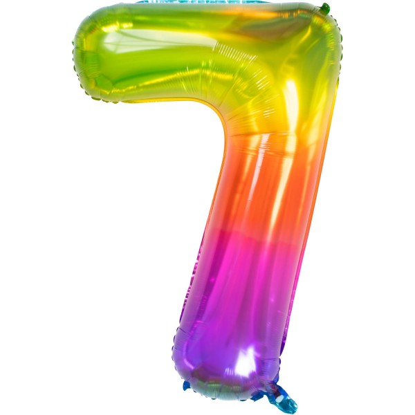 Number 7 Super Rainbow Foil Balloon 86cm