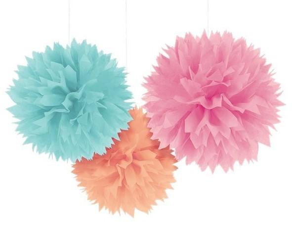 3 Icy colors pompoms