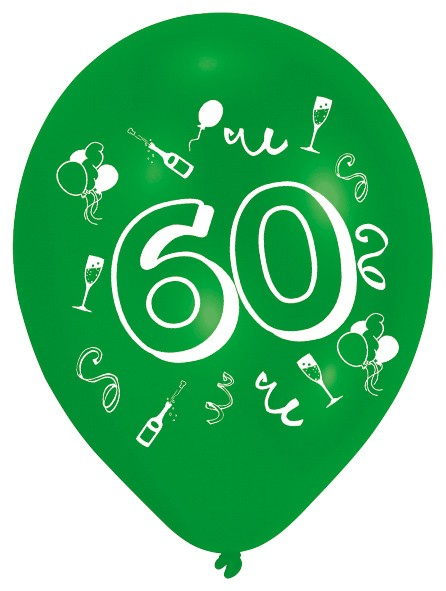 8 Crazy Number Balloons 60e verjaardag kleurrijk