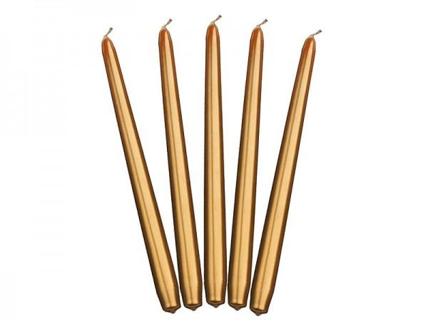 10 velas cónicas Lucía oro 29cm