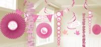 18-teiliges Deko Set Kommunion rosa
