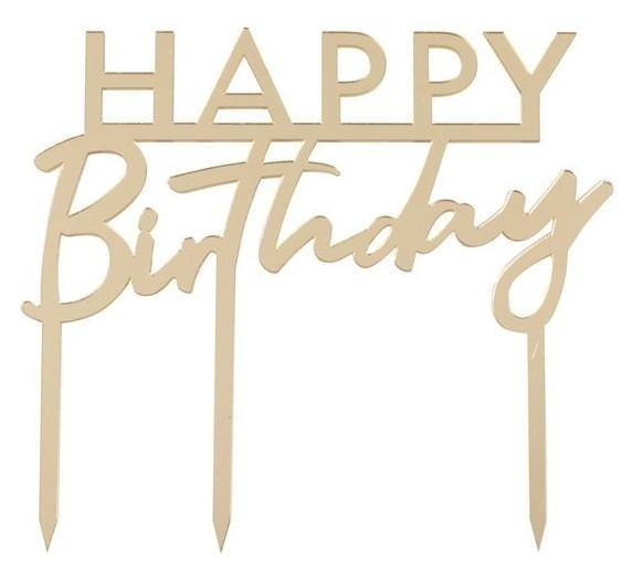 Support à gâteau acrylique doré Happy Birthday