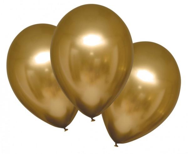 6 palloncini in raso lucido oro 27,5 cm