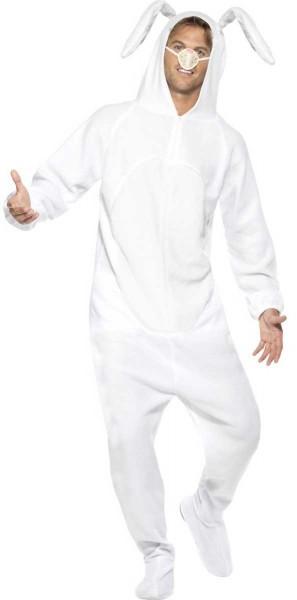 Weißes Ganzkörper Hasenkostüm mit Nase