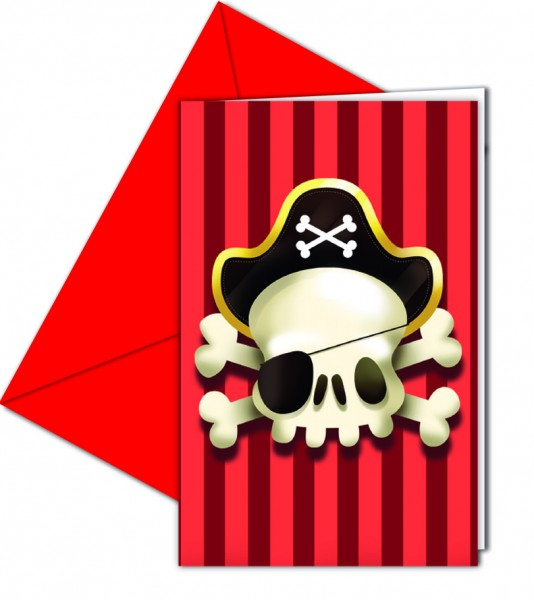 6 cartes d'invitation Joe Pirate à un œil