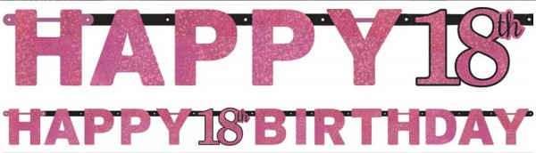 Pink Funkelnde Happy 18th Birthday Girlande Time To Shine 1
