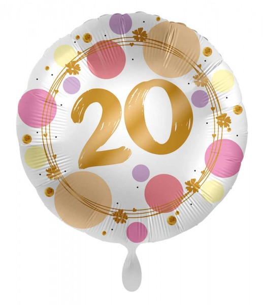 20. Geburtstag Ballon Happy Dots 45cm