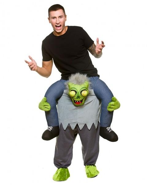 Googly-eyed zombie piggyback costume