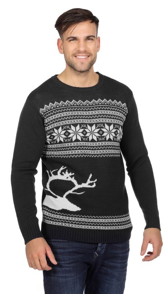 Black reindeer head Christmas sweater for men