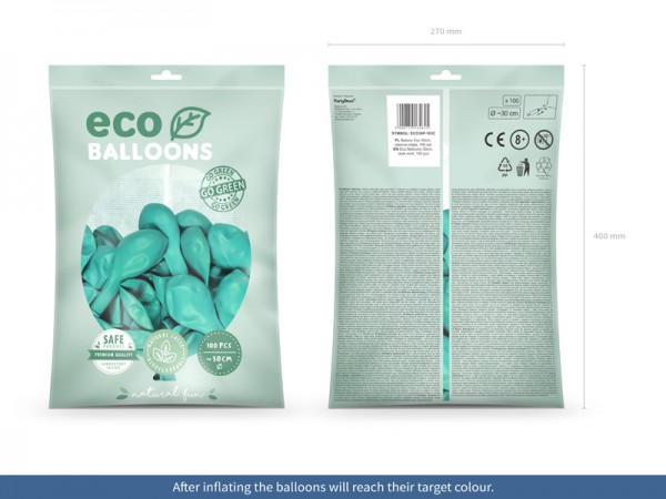 100 globos pastel eco turquesa 30cm