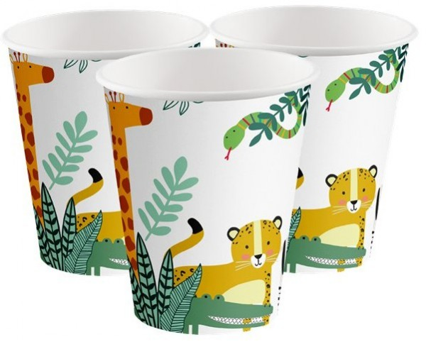 8 vasos de papel Jungle Fest 250ml