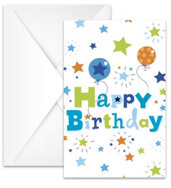 6 Birthday Explosion Einladungskarten