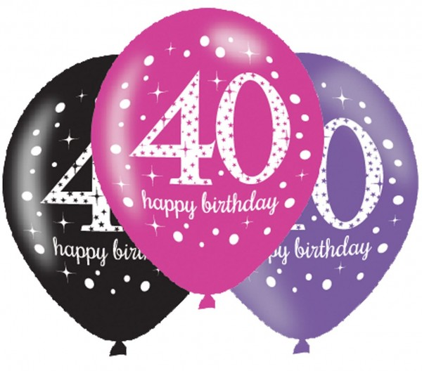 6 Pink 40th Birthday Ballons 27,5cm