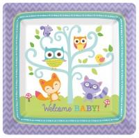 8 Welcome Baby Quadratische Pappteller 26,6cm