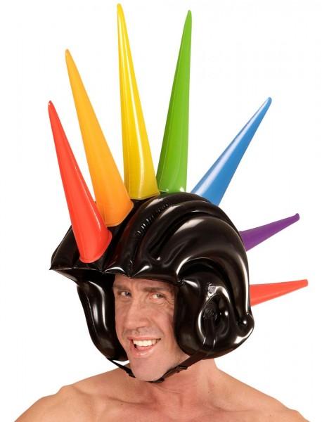 Aufblasbarer Punk Helm Mit Spikes 90 cm