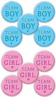 10 Team Buttons Gender Reveal 4,5cm