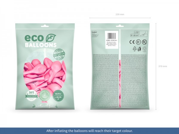 100 Eco Pastell Ballons rosa 26cm