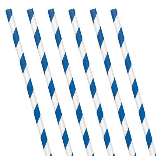 24 pailles en papier rayé bleu et blanc 19cm