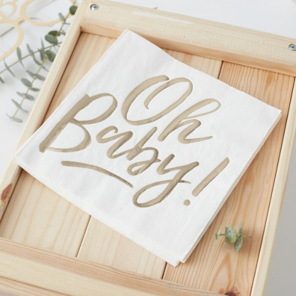 16 gold Oh Baby napkins 33cm