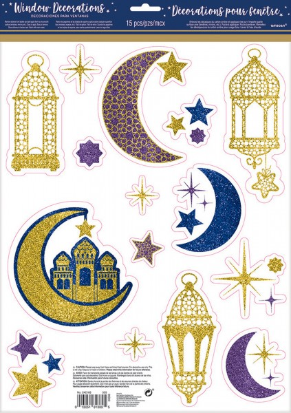 Window decoration Ramadan glitter 15 parts