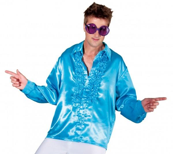 Camisa disco de volantes azul para hombre