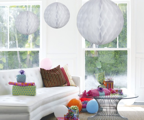 Decorative honeycomb ball white 50cm