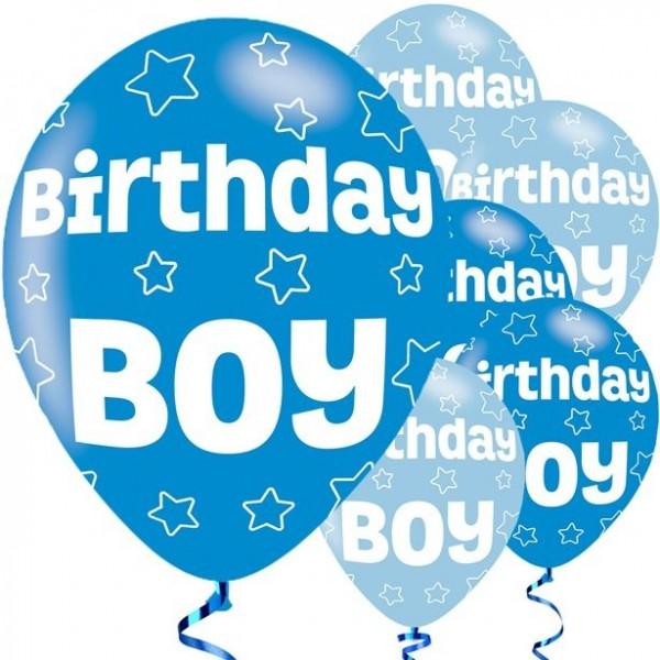 6 Birthday Boy Sternen Luftballons 28cm