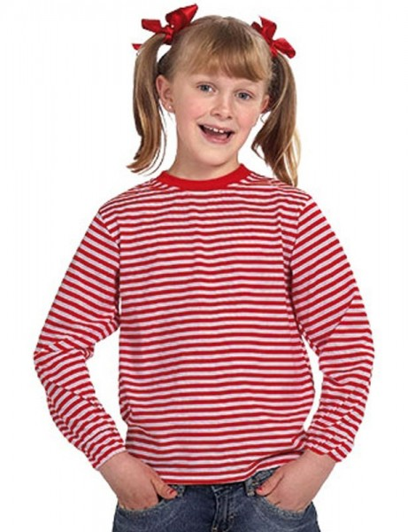 Camisa de rayas roja y blanca para niños