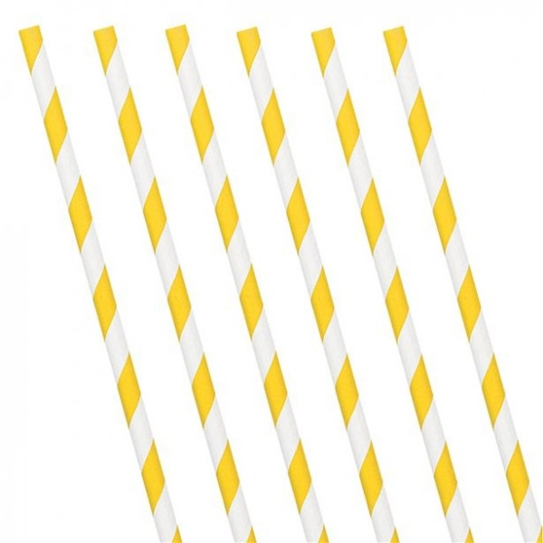 24 yellow and white striped paper straws