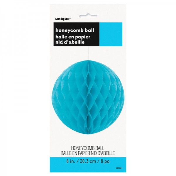 Decorative Fluffy honeycomb ball turquoise blue 30cm