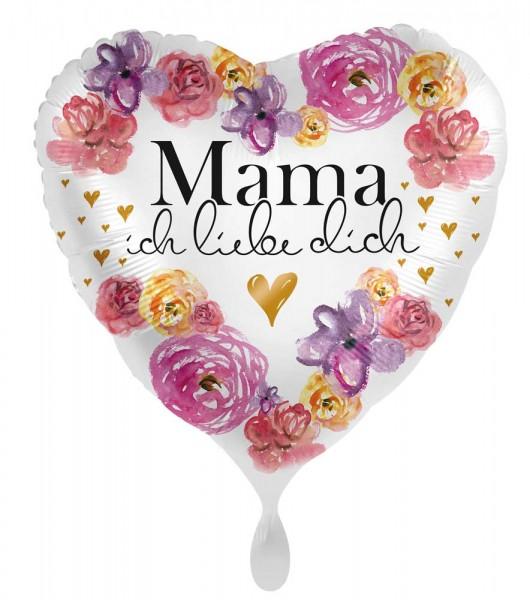 Blumiger Herz Folienballon Mama 45cm