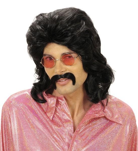 1970s Blond Disco Fever Perücke und Schnurrbart Satz Herren 70er Jahre Kostüm