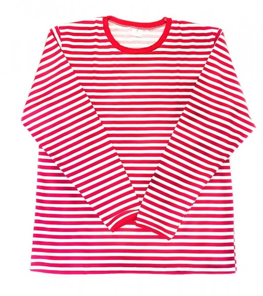 Red and white Walty long sleeve striped shirt