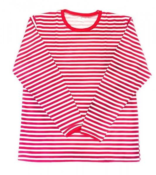 Camisa de rayas de manga larga Walty roja y blanca