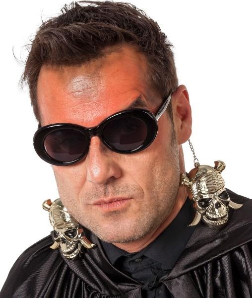 Totenkopf Ohrring Sonnenbrille Silber