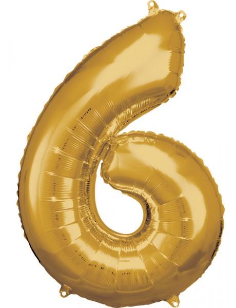 Goldener Zahl 6 Folienballon 86cm