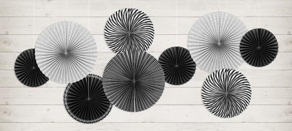 5 Black & White Party Papierrosetten
