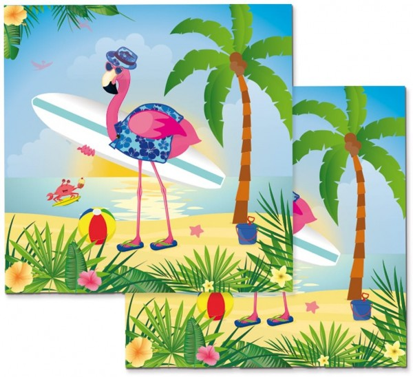 20 Surfer Flamingo Servietten 33cm