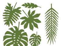 21 tropische Palmenblätter in 7 Formen