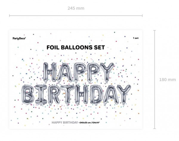 Happy Birthday Foil Balloon Silver 3.4m x 35cm