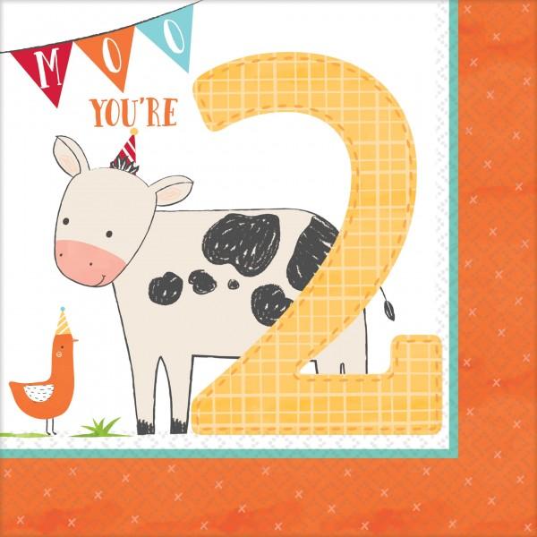 16 servilletas Happy Farm Life 2nd Birthday