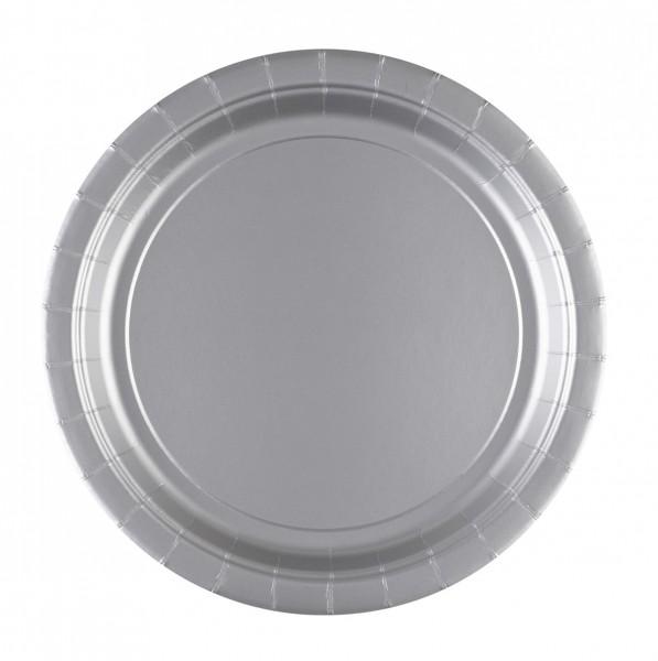8 Pappteller Partytime Silber 22,8cm