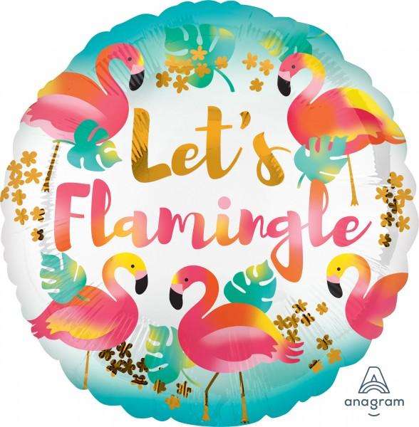 Okrągły balon foliowy Let`s Flamingle 43cm