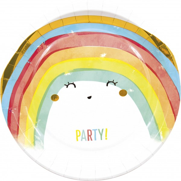 8 Regenbogen Party Pappteller 23cm