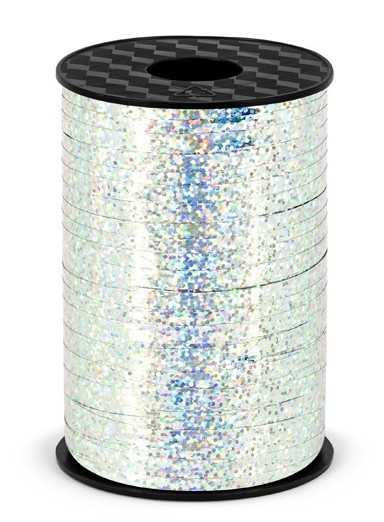 225m holographic gift ribbon silver